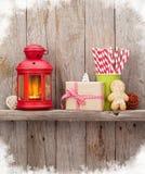 Christmas candle lantern, gift and decor Stock Photography