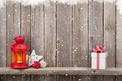Christmas candle lantern, gift and decor Royalty Free Stock Photo