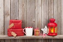 Christmas candle lantern, gifts and decor Stock Image