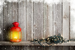 Christmas candle lantern, xmas lights Stock Image