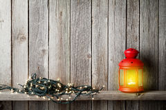 Christmas candle lantern, xmas lights Stock Images