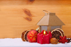 Christmas Candle  and latern. Stock Photo