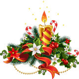 Christmas candle light with decorations royalty free stock images