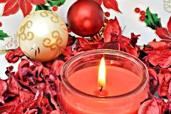 Christmas candle lit Royalty Free Stock Photo