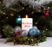 Christmas Candle 2018 Stock Photography