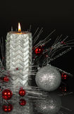 Christmas Candle Metallic Silver Stock Photography