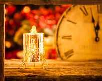 Christmas candle at midnight Stock Photography