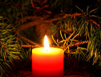 Christmas candle with New Year`s tree brunch on dark background Royalty Free Stock Photo