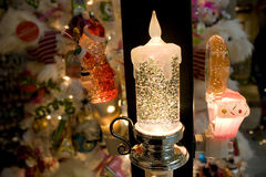 Christmas candle night light Royalty Free Stock Images