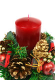 Christmas candle ornament. Christmas ornament with red candle and pine cones Royalty Free Stock Image