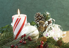 Christmas candle pearl white ornament Royalty Free Stock Photos