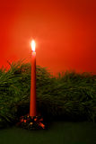Christmas candle and pine branch. Royalty Free Stock Photo