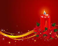 Christmas Candle with Poinsettia Royalty Free Stock Photography