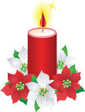 Christmas candle and poinsettia flowers Royalty Free Stock Photo