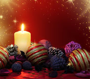 Christmas candle and potpourri Royalty Free Stock Photos