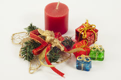 Christmas Candle and Presents Royalty Free Stock Images