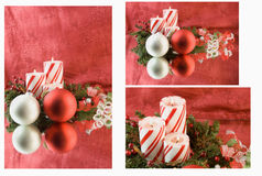 Christmas candle red background montage Royalty Free Stock Photo