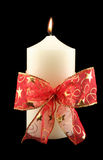 Christmas Candle With Red Bow Stock Photo