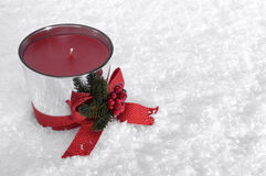 Christmas Candle with Red Bow Royalty Free Stock Photo