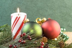 Christmas candle red green ornament Royalty Free Stock Photography