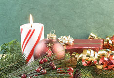 Christmas candle red ornament Royalty Free Stock Photography