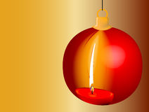 Christmas Candle Reflection. Reflection of a red burning candle in a Christmas Bauble Royalty Free Stock Photography