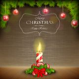 Christmas Candle On Scratched Background. Royalty Free Stock Images