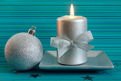 Christmas candle and silver ball Royalty Free Stock Photography