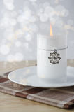 Christmas candle with snowflake. Candel Stock Image