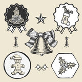 Christmas candle sock gingerbread bell vintage Stock Images