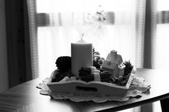 Christmas Candle on the table - Interiors Decorations - Black and white Stock Image