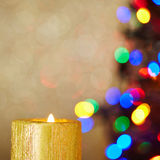 Christmas candle with tree and background Stock Photo