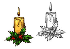 Christmas candle tree light on holly leaves sketch. Christmas candle with holly sketch icon. Vector isolated christmas tree light burning on bow of holly leaves Royalty Free Stock Images