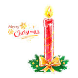 Christmas candle. Vector watercolor illustration of Christmas candle Royalty Free Stock Photography