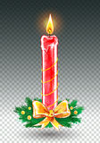 Christmas candle. Vector watercolor illustration of Christmas candle Stock Photos