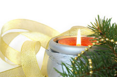 Christmas candle  on white Royalty Free Stock Photo