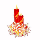 Christmas candle with white poinsettia  vector Stock Image