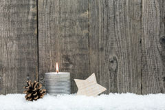 Christmas candle, wooden star Stock Image