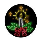 Christmas Candle Wreath Oval Neon Sign. Retro style illustration showing a 1990s neon sign light signage lighting of a Christmas holiday season candle with royalty free illustration