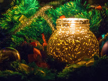 Christmas candle in yellow Royalty Free Stock Images