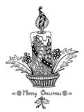 Christmas Candle in Zen-doodle style black on white. Christmas Candle  in Zen-doodle style black on white coloring page for coloring book or creative Post Card Stock Photos