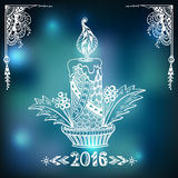 Christmas Candle  in Zen-doodle style  on blur background in blue Royalty Free Stock Image