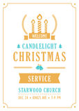 Christmas Candlelight Service Church Invitation. Vector Template Royalty Free Stock Images
