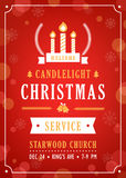 Christmas Candlelight Service Church Invitation. Christmas Candlelight Service Church Invitation Vector Template Royalty Free Stock Photography