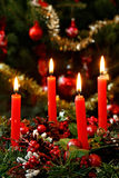 Christmas candles. Four red christmas candles are lighting before the christmas tree at Christmas Eve Royalty Free Stock Photo