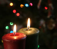 Christmas Candles. Set against a tree Royalty Free Stock Photo
