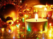 Christmas candles. Christmas decoration - candles and ball royalty free stock photography