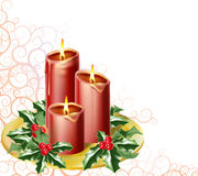 Christmas candles. And holly with an abstract festive background stock illustration