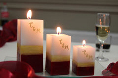 Christmas candles. Close-up image of three christmas candles royalty free stock photos