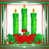 Christmas candles. Three candles in candlestick with holly decoration inside frame Stock Image